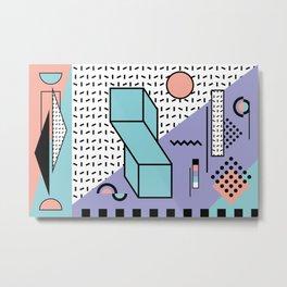 Memphis Pattern - 80s Retro - Pastel Colors Metal Print