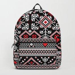 Ukrainian Hearts and Flowers Motifs Design  Backpack