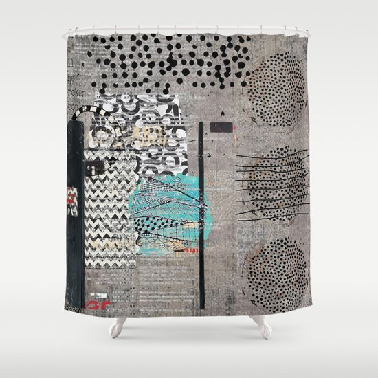 Grey Teal Abstract Art Shower Curtain By Sheree Joy