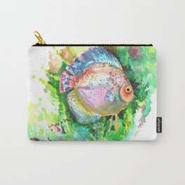 Aquarium Fish, Green Rainbow colors, Discus, Pink Green Illustration Carry-All Pouch