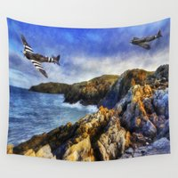 aviation Wall Tapestries featuring Spitfires On The Coast by Ian Mitchell