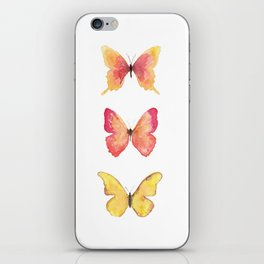 Butterflies Illustration Watercolor - Warm colors iPhone Skin