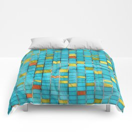 Block Aqua Blue and Yellow Art - Block Party 2 - Sharon Cummings Comforters
