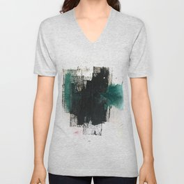 Empire: a minimal, abstract piece in teal and midnight blue by Alyssa Hamilton Art Unisex V-Neck