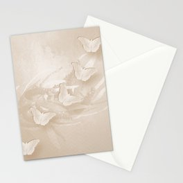 Fabulous butterflies and wattle with textured chevron pattern in subtle iced coffee Stationery Cards