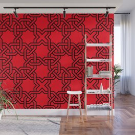 Entwined graphic Lines Home Design - red Wall Mural