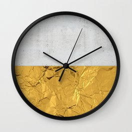 Gold Foil and Concrete Wall Clock