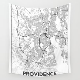 Minimal City Maps - Map Of Providence, Rhode Island, United States Wall Tapestry