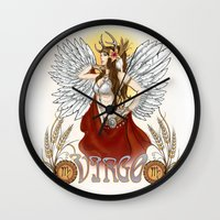 virgo Wall Clocks featuring Virgo by Michele Phillips