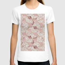 Modern rose gold geometric star flower pattern T-shirt