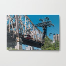 Queensboro bridge and tramway of Manhattan midtown on Roosevelt Island Metal Print