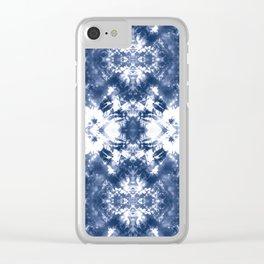 Shibori Tie Dye 4 Indigo Blue Clear iPhone Case
