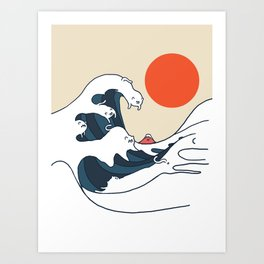 The Great Wave of Cats Minimal Art Print