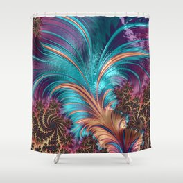 BLUE FEATHERS FRACTAL Shower Curtain
