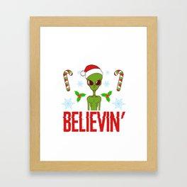 Don't Stop Believin' Merry Christmas Happy New Year December 25 T-shirt Design Xmas Holidays Season Framed Art Print
