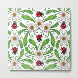 Ladybugs & Daisies - Cute Floral Bug Pattern with Ladybirds Metal Print