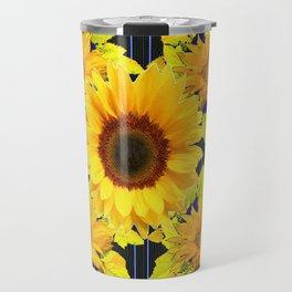 Yellow Sunflowers Pattern in Black-Blue Travel Mug