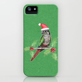 Christmas green cheeked conure iPhone Case