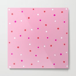 confetti dots: pink red & white Metal Print
