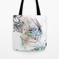 anime Tote Bags featuring Anime 3  by Del Vecchio Art by Aureo Del Vecchio