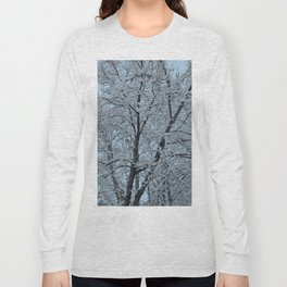 Big Tree In Snow and Blue Sky Long Sleeve T-shirt
