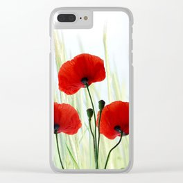 Poppies red 008 Clear iPhone Case