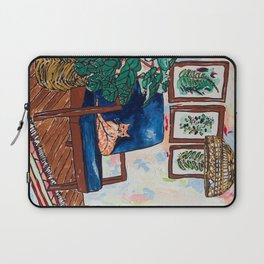Ginger Cat on Blue Mid Century Chair Painting Laptop Sleeve