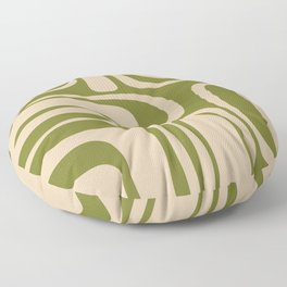 Palm Springs - Midcentury Modern Retro Pattern in Mid Mod Beige and Olive Green Floor Pillow