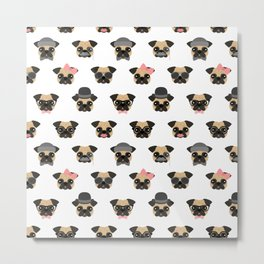 Pugs in Disguise Pattern Metal Print