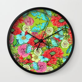 Chartreuse Floral for 2017 Wall Clock