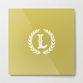 Mustard Yellow Monogram: Letter L Metal Print