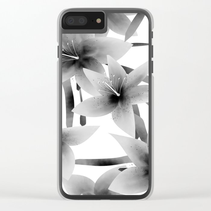 Lily. Black and white pattern . Clear iPhone Case