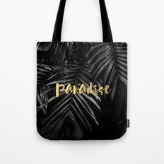 Paradise - gold on palm leaves Tote Bag