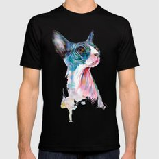 cat on pink Black LARGE Mens Fitted Tee