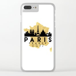 PARIS FRANCE SILHOUETTE SKYLINE MAP ART Clear iPhone Case