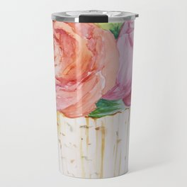 Peach Rose And Pink Tulip In Vase Watercolor Travel Mug