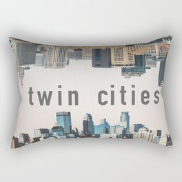 Twin Cities Minneapolis and Saint Paul Minnesota Skylines Rectangular Pillow