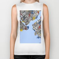 istanbul Biker Tanks featuring Istanbul by Mondrian Maps