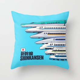Shinkansen Bullet Train Evolution - Cyan Throw Pillow