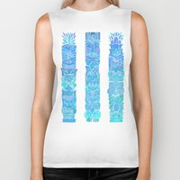 tiki Biker Tanks featuring Tiki Totems – Turquoise Palette by Cat Coquillette