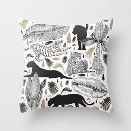 Wild Cats and Botanicals Throw Pillow