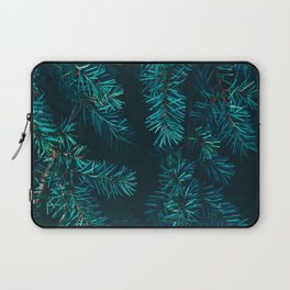 Pine Tree Close Up Neon Green Colorful Leaves Against A Black Background Laptop Sleeve