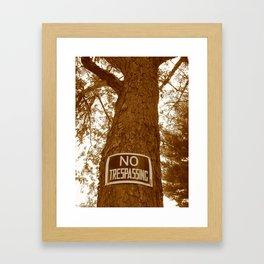 Sepia No Trespassing Framed Art Print