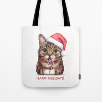 lil bub Tote Bags featuring Lil Bub in Santa Hat with Candy Cane - Happy Holidays by Olechka