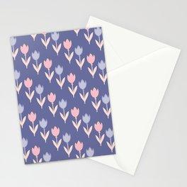 Modern hand painted pink lavender violet tulip floral Stationery Cards