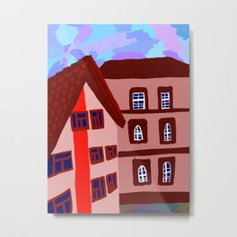 дома напротив Metal Print