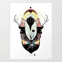 santa Art Prints featuring SANTA by Alba Blázquez