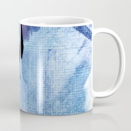 Pull: an abstract mixed media piece in blues, purple, black, and white Coffee Mug