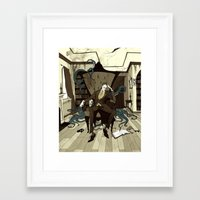 lovecraft Framed Art Prints featuring H.P. Lovecraft by Abigail Larson