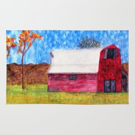 Watercolor Red Barn Rug